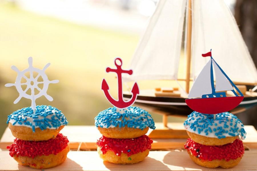 Nautical Cupcake Toppers Set Of 12   Sailboat Baby Shower   Little Sailor  Birthday   AHOY Itu0027s A Boy   Sailboat Decorations   Anchor Party