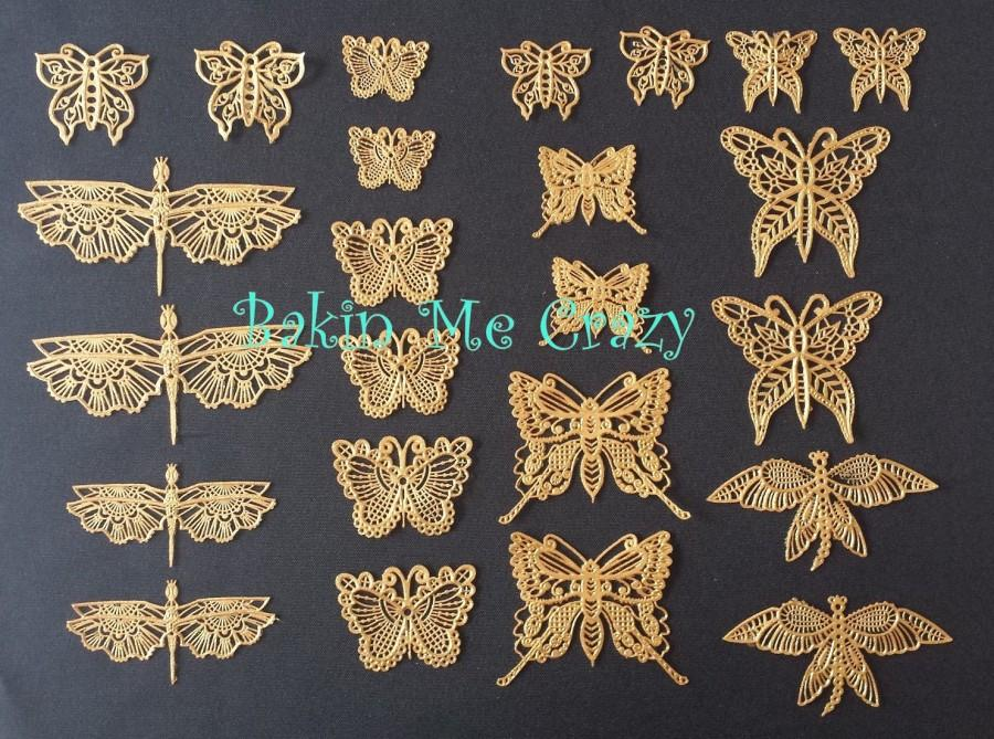 Mariage - 24 Edible Cake Lace Butterflies for Weddings Anniversary Engagement Birthday Baby Shower Fairy Party Cake Decoration  & Cupcake Toppers