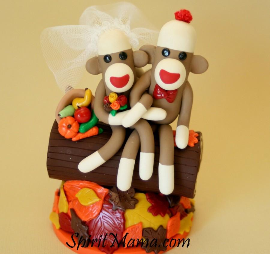 Autumn Leaves Bride And Groom Sock Monkey Wedding Cake