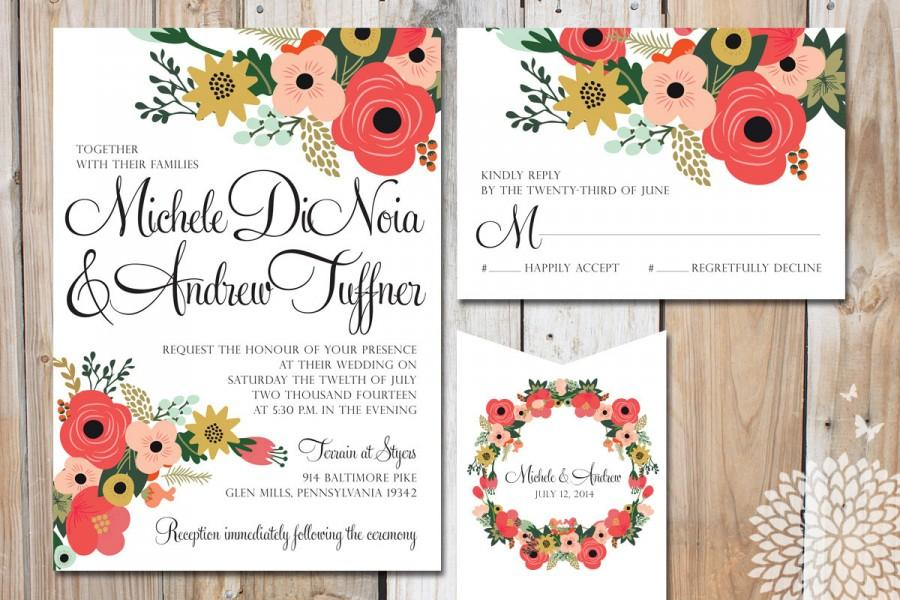peony floral wedding stationery package with rustic charm diy