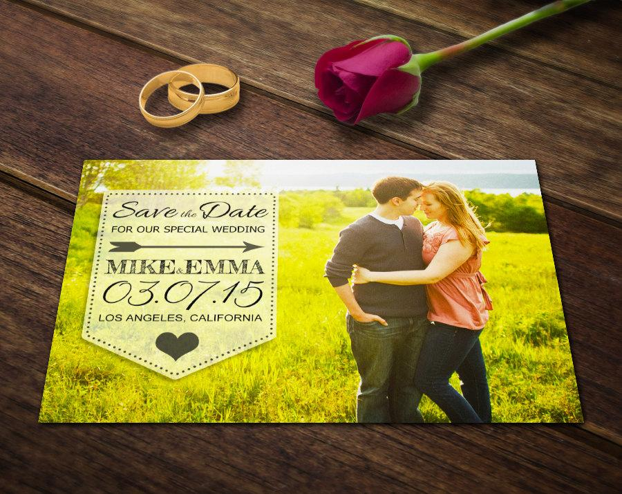 Wedding Save The Date Postcard Template Photoshop Template PSD - Photography postcard template