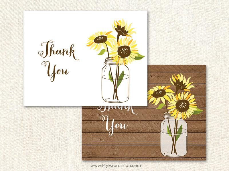 Sunflowers Thank You Cards Wedding
