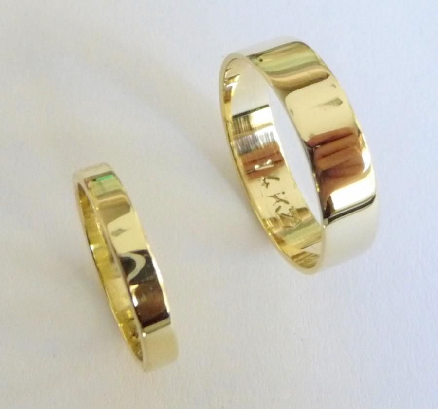 Mariage - Wedding band set 14k gold wedding rings women men gold wedding bands flat shiny
