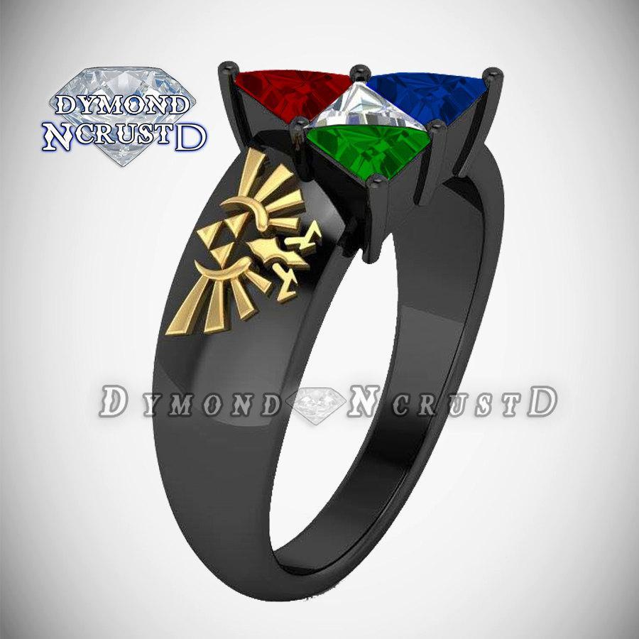 Legend Of Zelda Triforce Ocarina Time Spiritual Stones Inspired Unisex Engagement Ring: Spiritual Stones Zelda Wedding Rings At Websimilar.org