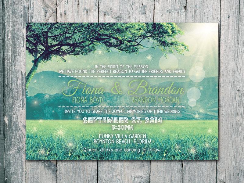 زفاف - Digital - Printable Files - Happy Evergreen Mountain Wedding Invitation and Reply Card Set - Wedding Stationery - ID407