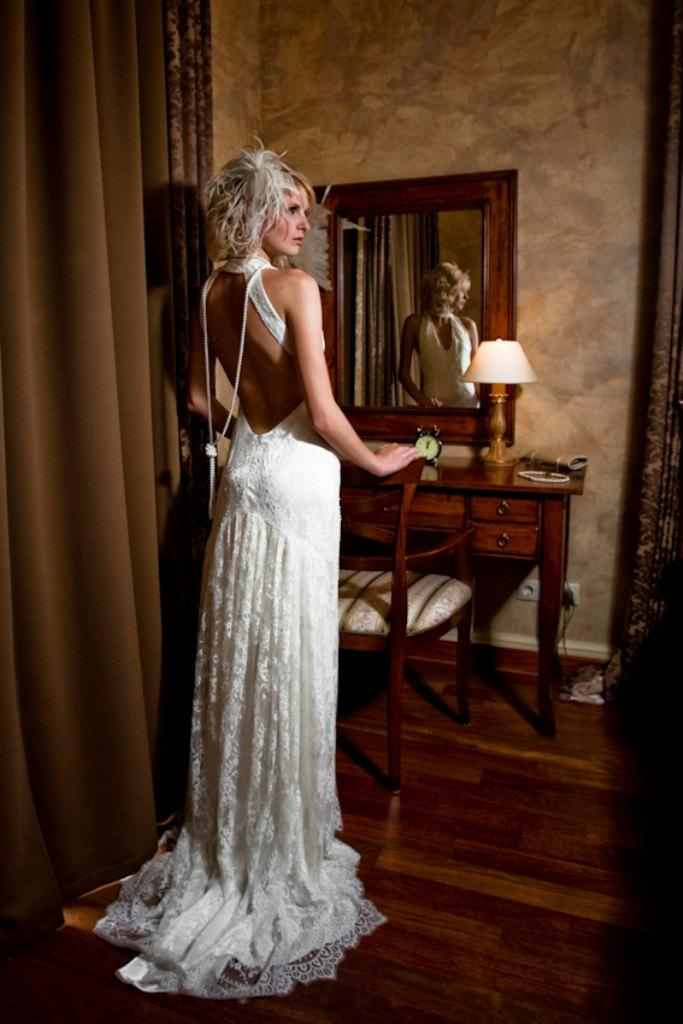 Open Back Pearl Wedding Dress
