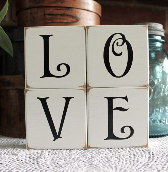 Valentine Sign Love Shelf Sitter Blocks Wedding Decor Stacking
