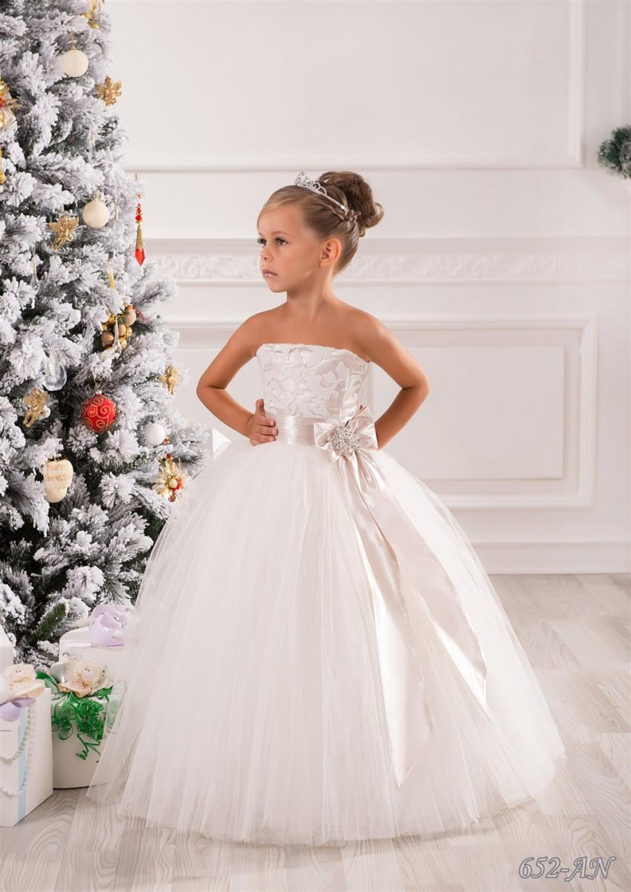 Ivory And Cuccino Flower Dress Holiday Wedding Party Bridesmaid Birthday Tulle Lace
