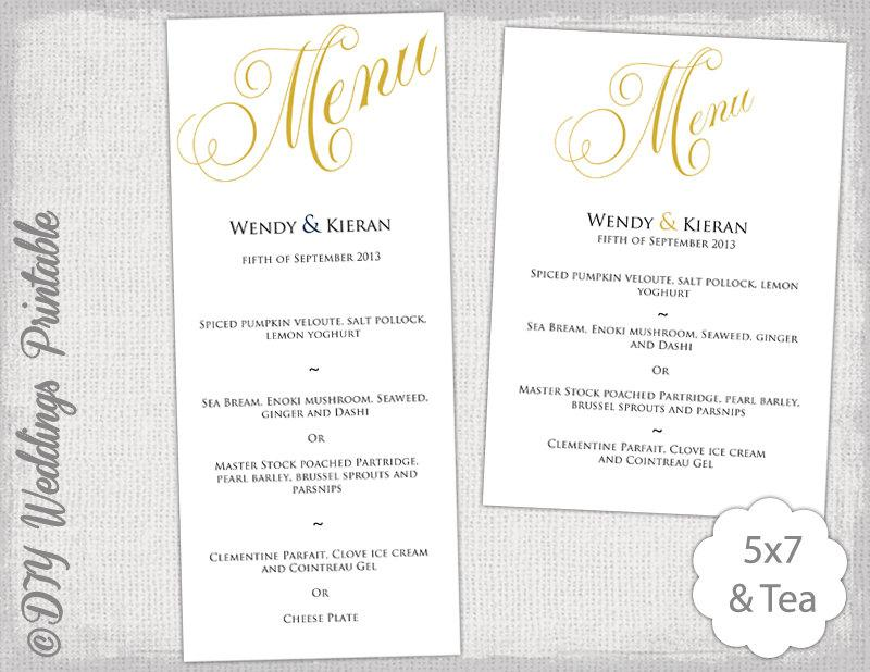 menu template gold wedding menu diy wedding menu template. Black Bedroom Furniture Sets. Home Design Ideas
