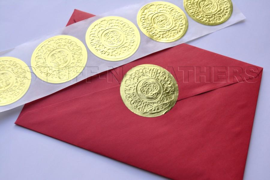 GOLD Foil Sticker Seals Large Round Embossed Stickers Use As - Custom gold foil stickers