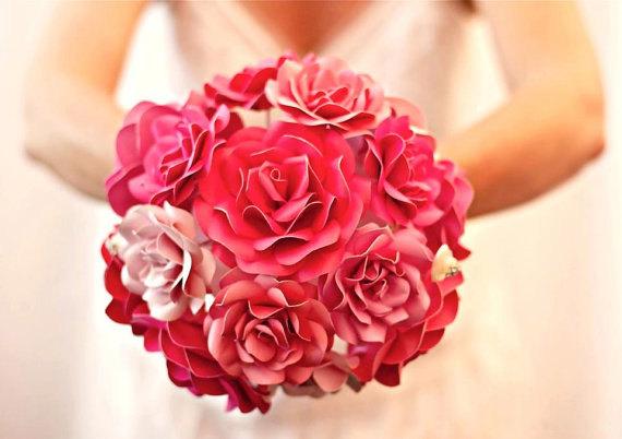 زفاف - Custom Paper Flower Wedding Bouquet - Bridal Bouquet - Bridesmaid Bouquet