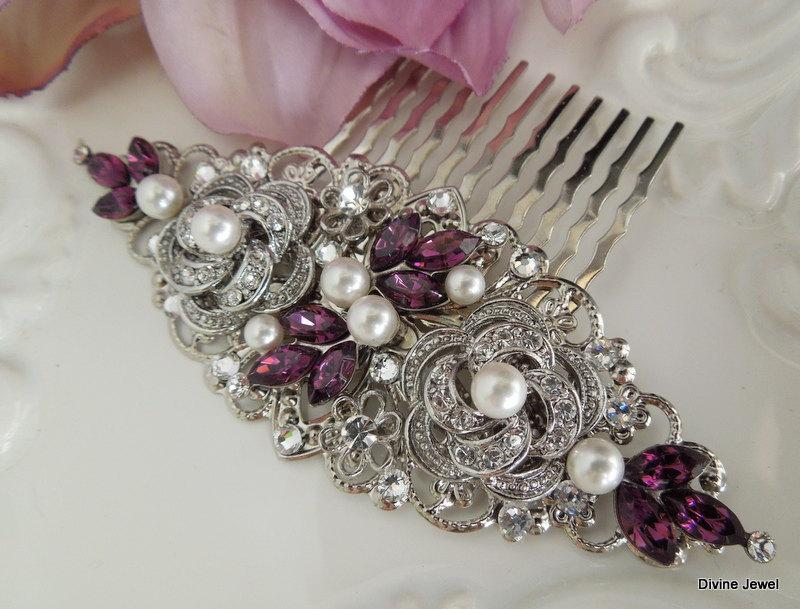 Свадьба - Pearl Hair Comb,Bridal Pearl crystal Hair Comb,Wedding Rhinestone Hair Comb,Purple Hair Comb,Ivory or White Pearl,Amethyst,Purple,ROSELANI