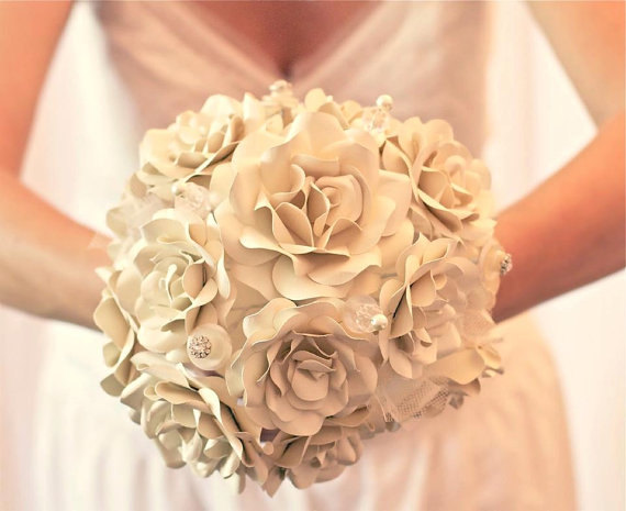 Свадьба - Custom Paper Flower Wedding Bouquet - Bridal Bouquet - Bridesmaid Bouquet