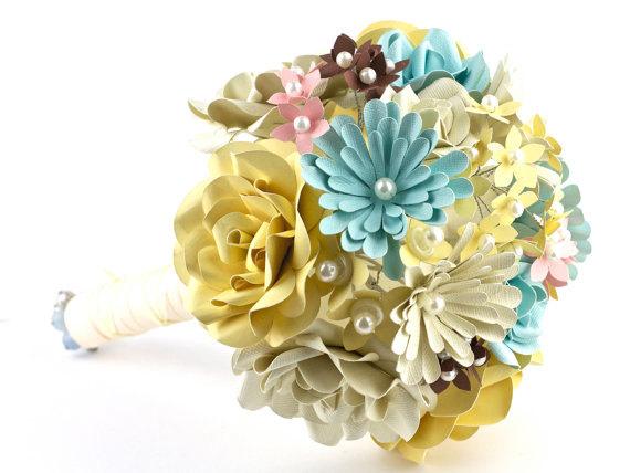 Свадьба - Custom Paper Flower Wedding Bouquet - Bridal Bouquet - Bridesmaid Bouquet