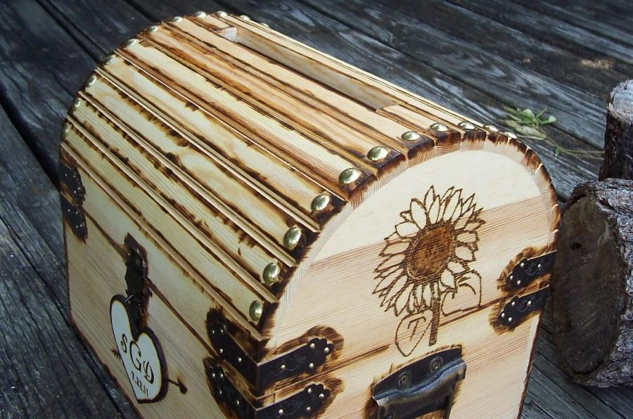 Sunflower Custom Design Rustic Wood Treasure Chest Or Wedding – Wedding Treasure Chest Card Box