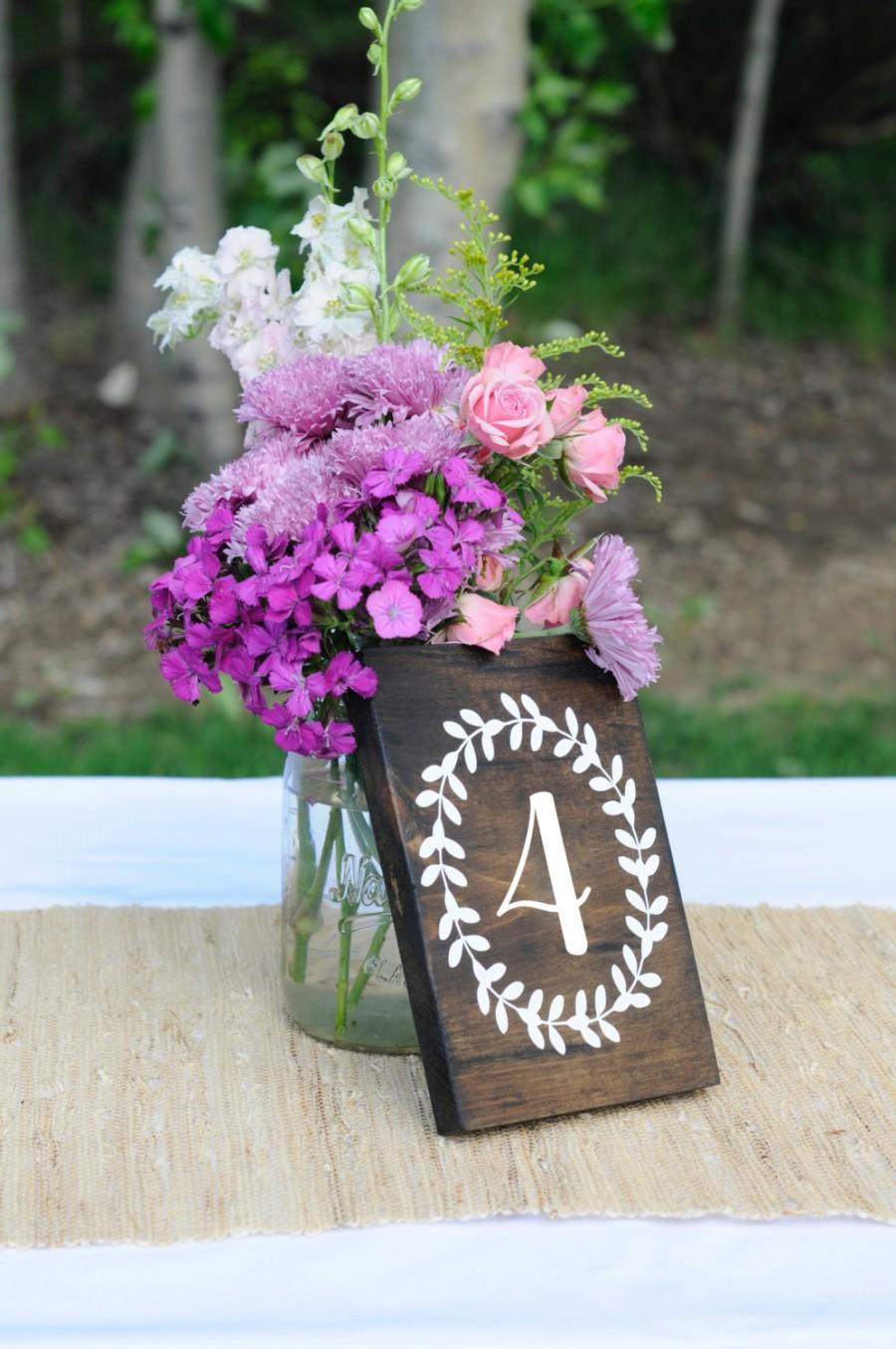 Mariage - Wedding Table Numbers, Script, Cursive Wooden Table Numbers, Rustic Wood Table Numbers, Calligraphy Table Numbers