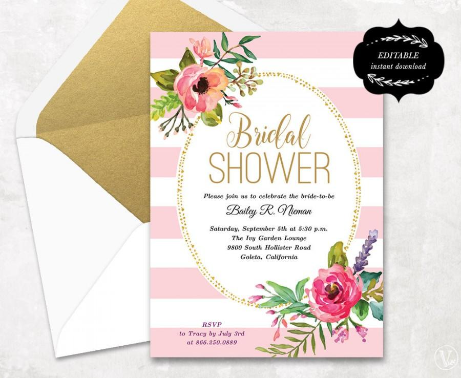 Blush Pink Floral Bridal Shower Invitation Template, Printable ...