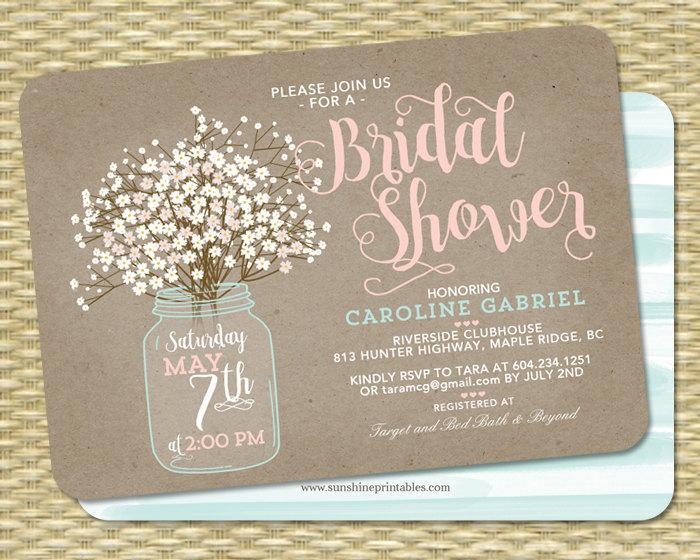 Country Bridal Shower Invitation Invite Wedding Rustic Baby S Breath Kraft