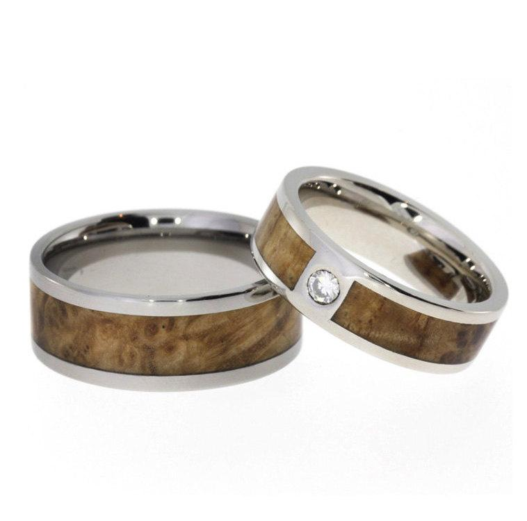 Mens Titanium Ring And A Womens White Gold Two Set Inlaid In Black Ash Burl Armor Included