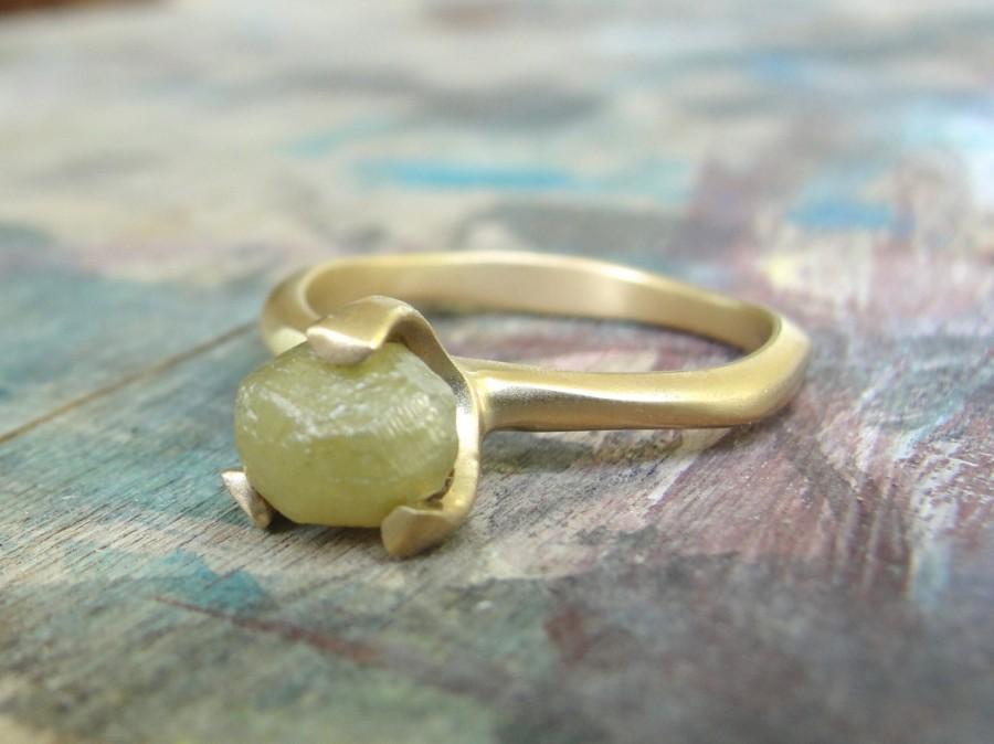 زفاف - Raw Diamond Ring , Rough Diamond Engagement Ring , Raw uncut Diamond Solitaire Ring , Diamond Engagement Ring , Prong Set Raw Diamond Ring
