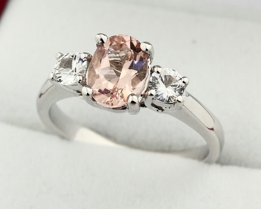 زفاف - Natural  Morganite  Solid 14K White Gold white sapphire engagement Ring Gem759