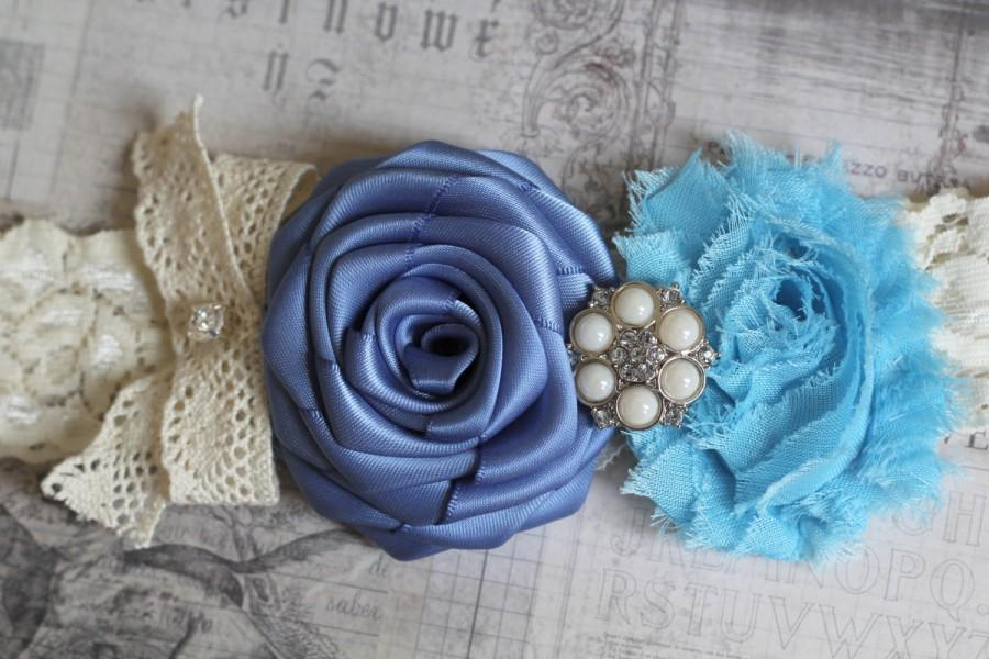 Wedding - TAMARA: Blue Wedding Garter. Sky Blue Shabby Chic. Smoke Blue Satin Rolled Flower. Something Blue.
