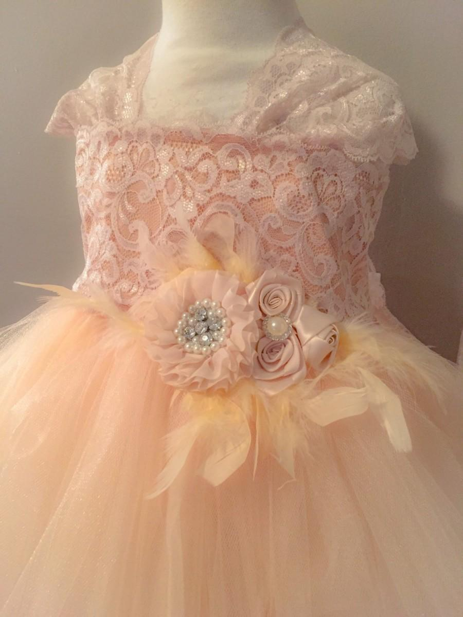 Mariage - Chmpagane Feather Flower Girl Dress-Lace Flower Girl Dress-Flower Girl Tutu Dress-Jr Bridesmaid Dress-Wedding Dress