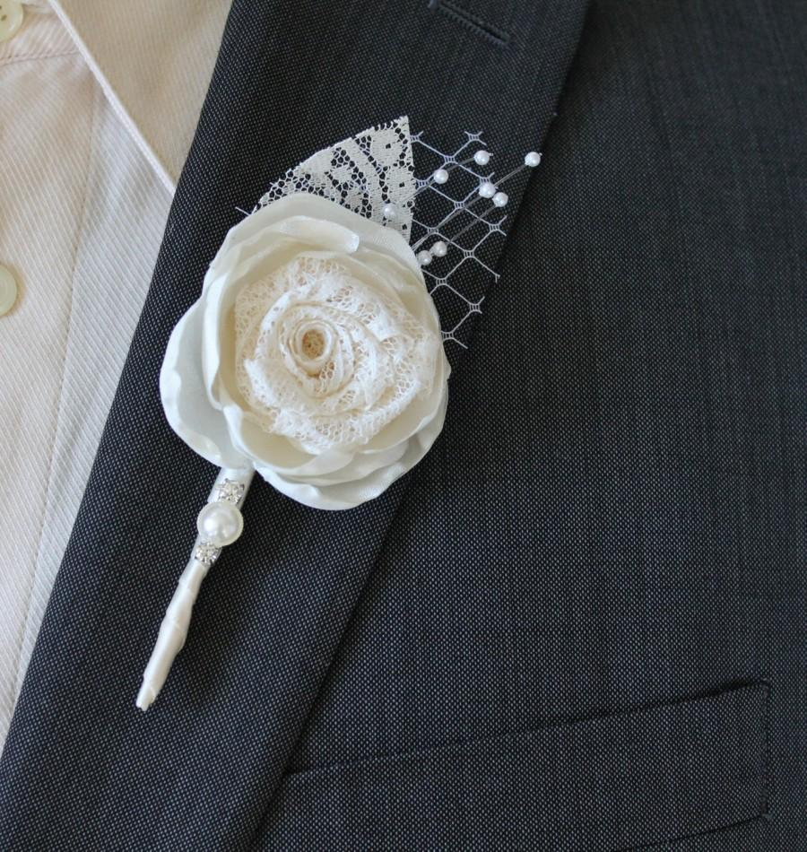 Свадьба - Wedding Boutonniere Grooms Boutonniere Groomsmen Boutonniere Mens Wedding Boutonniere Silk Boutonniere Wedding Accessories Ivory Boutonniere