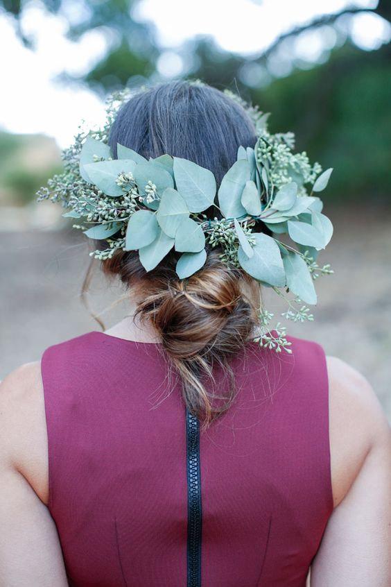 Свадьба - Fresh Eucalyptus Flower Crown