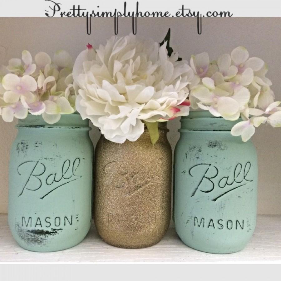 glitter mason jar set wedding centerpieces shower centerpieces gold and mint jars glitter jars flower vases center pieces party decor