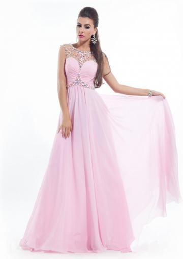 Boda - Straps Crystals Chiffon Ruched Pink Blue Floor Length