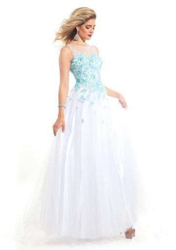 Mariage - Appliques White Blue Ruched Sleeveless Zipper Tulle Straps Floor Length Ball Gown