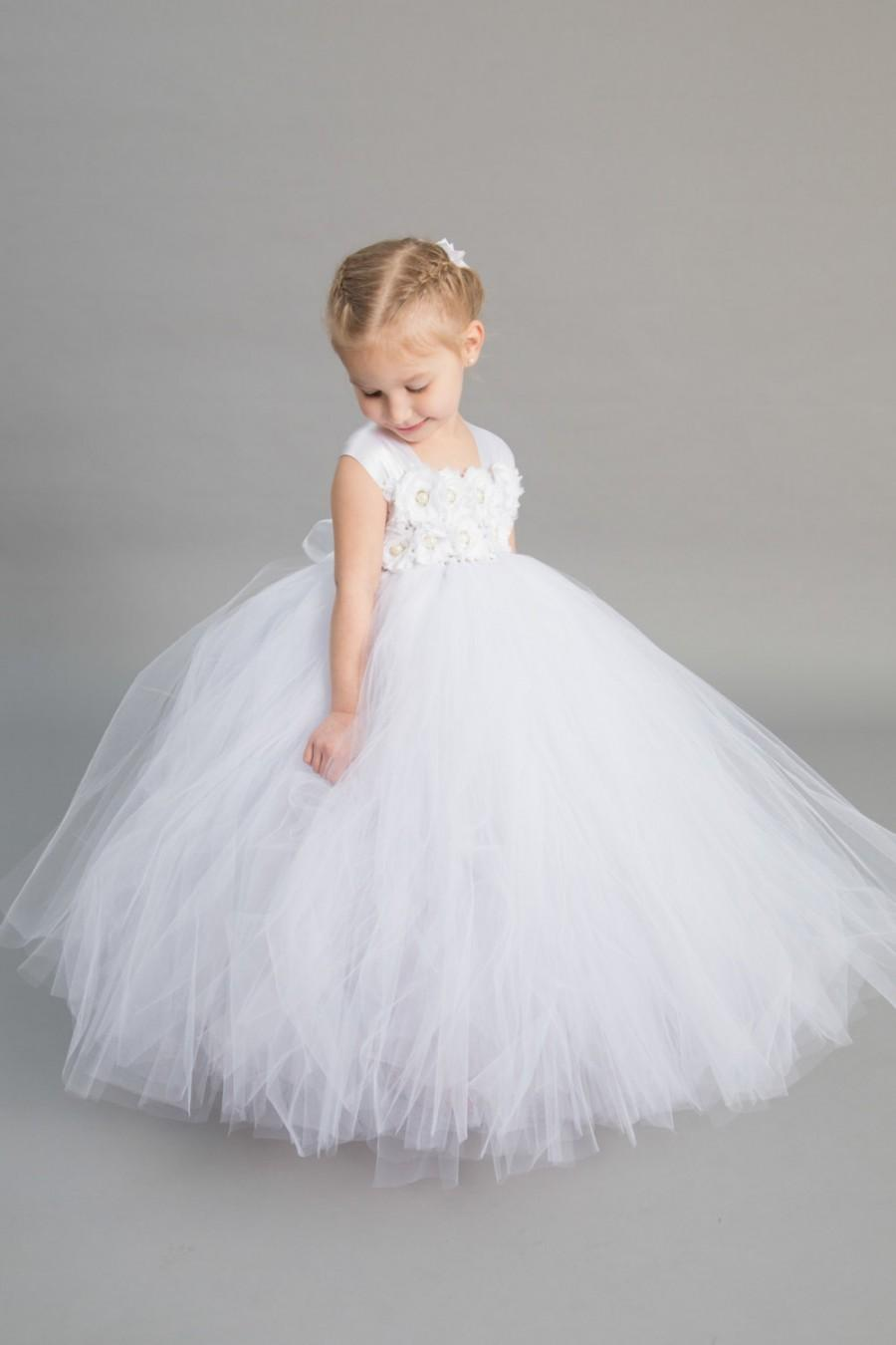 Flower Girl Dress Tulle Flower Girl Dress White Dress Tulle