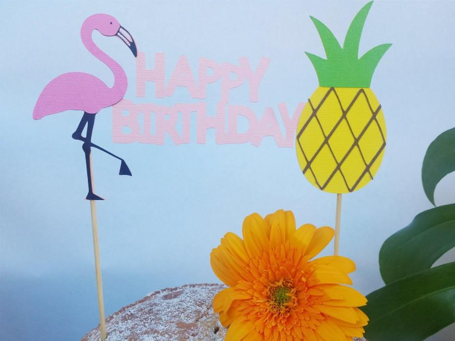Flamingo Birthday Cake Topper And Pineapple Party Hawaiian Luau Pool Decorations 1stt Or Adult
