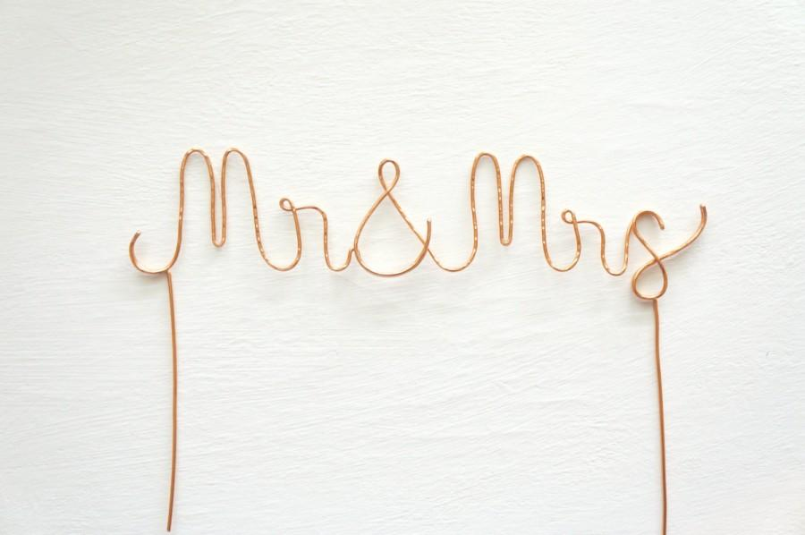 Rose Gold Mr And Mrs Wedding Cake Topper Mr And Mrs Cake Topper