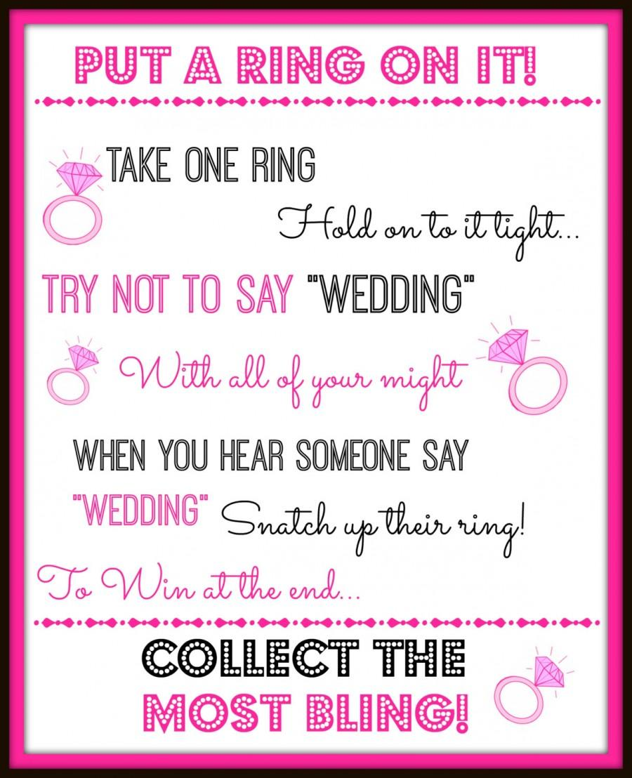 Mariage - Put a Ring on it! Bridal Showeror Bachelorette Party Game Decoration Instant Digital Download