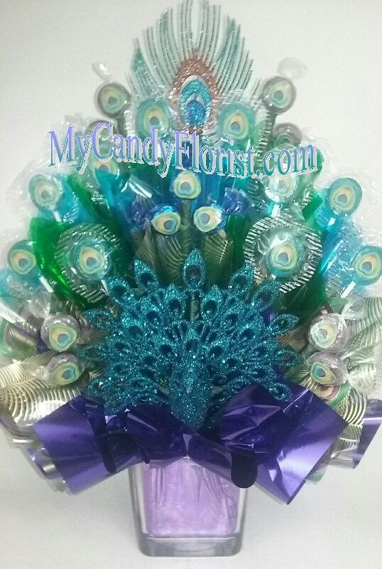 Mariage - NEW PEACOCK Candy Bouquet Centerpiece LIMITed ADDITION -3D Glittered Peacock Body & Feather! Rehearsal Dinner -Engagement -Wedding