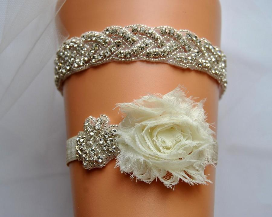 Mariage - SALE Bridal Garter Set, Wedding Garter Set Ivory,White Ivory Shabby Chic Rhinestone Garter, Crystal Rhinestone Garter and Toss Garter Set