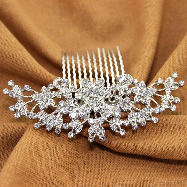 Wedding - Crystal Bridal Hair Comb for Wedding Flora Handmade Designer Rhinestone Bridal Headpiece
