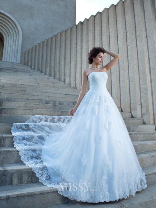 Wedding - Duchesse-Linie Ärmellos Trägerlos Satin Kapelle-schleppe Applikationen Brautkleid