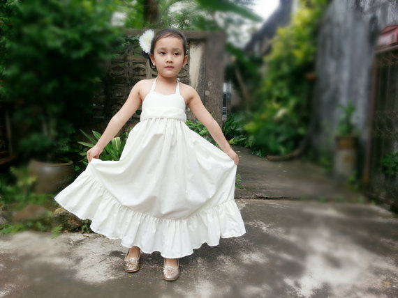 Wedding - Ivory Flower Girl dress, Flower Girl maxi dress, Rustic flower girl dressses, White flower girl dress, Champagne flower girl dress.