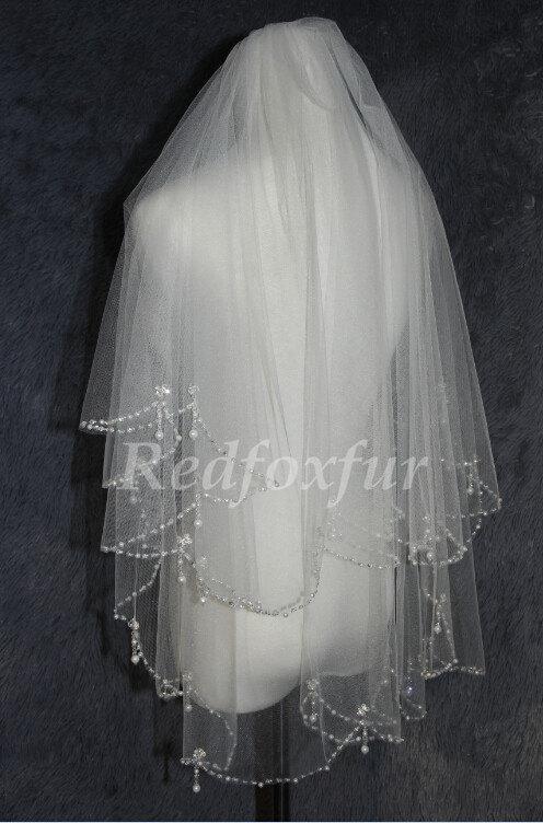 Wedding - 2T white ivory beaded bridal veil wedding veil, handmade beaded veil beautiful bride accessories
