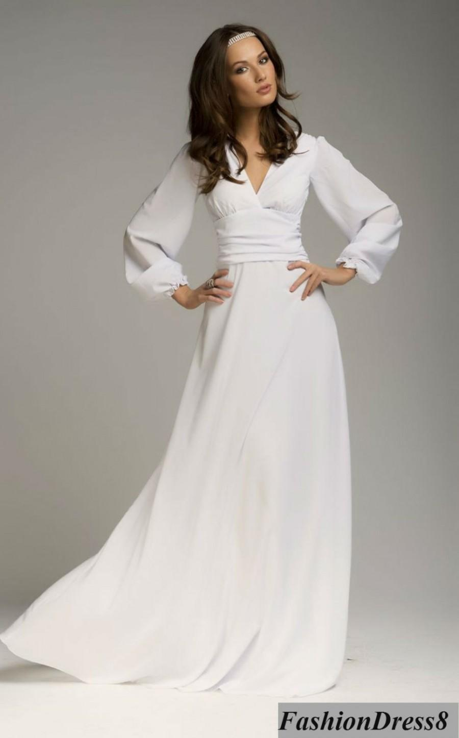 Long sleeve white wedding dress