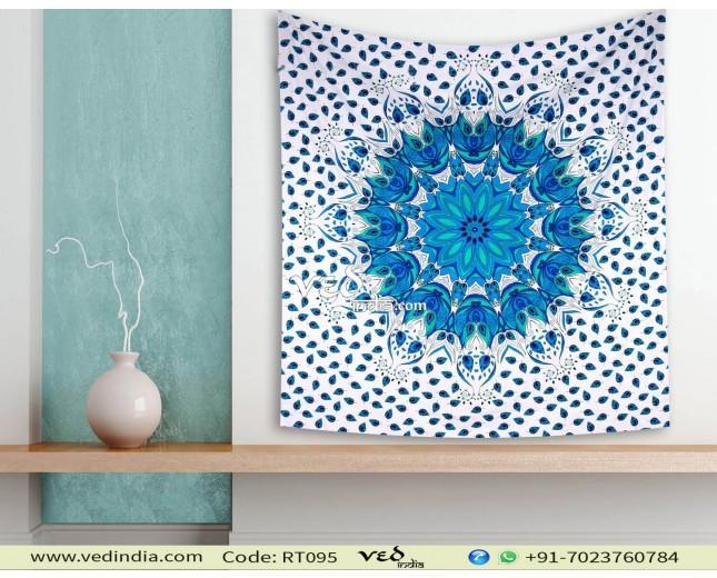 Hochzeit - Blue Ombre Queen Mandala Tapestry