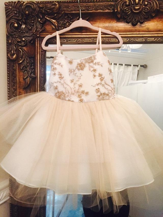 Girls / Toddler Embroidered Tulle Dress Bronze / Champagne flower girl dress  Junior Bridesmaid Birthday Dress Outfit Formal Girls Dress Gown