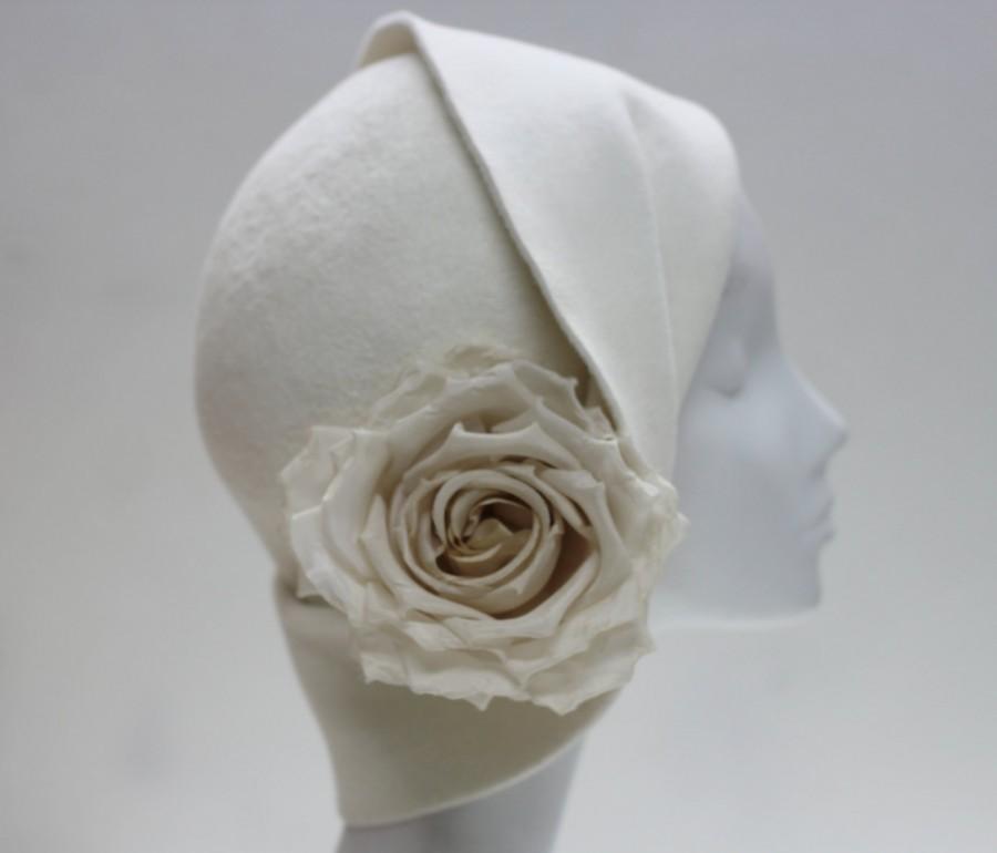 Wedding - Beautiful Sculptural Cloche Hat w/ Silk Rose - Womens Hat - Wedding Hat - Anais