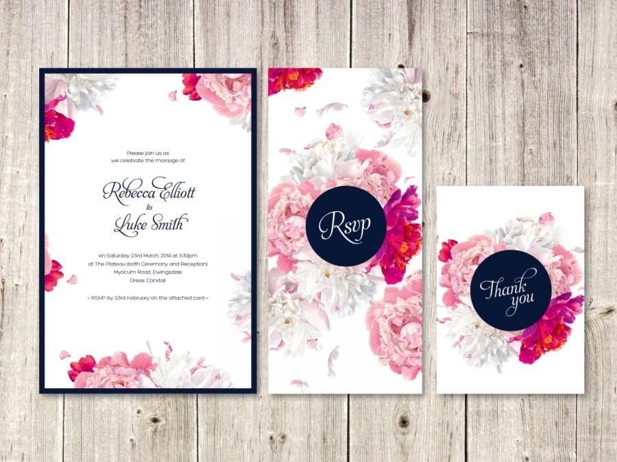 Floral Watercolour Wedding Invitation Suite // Pink And Navy ...