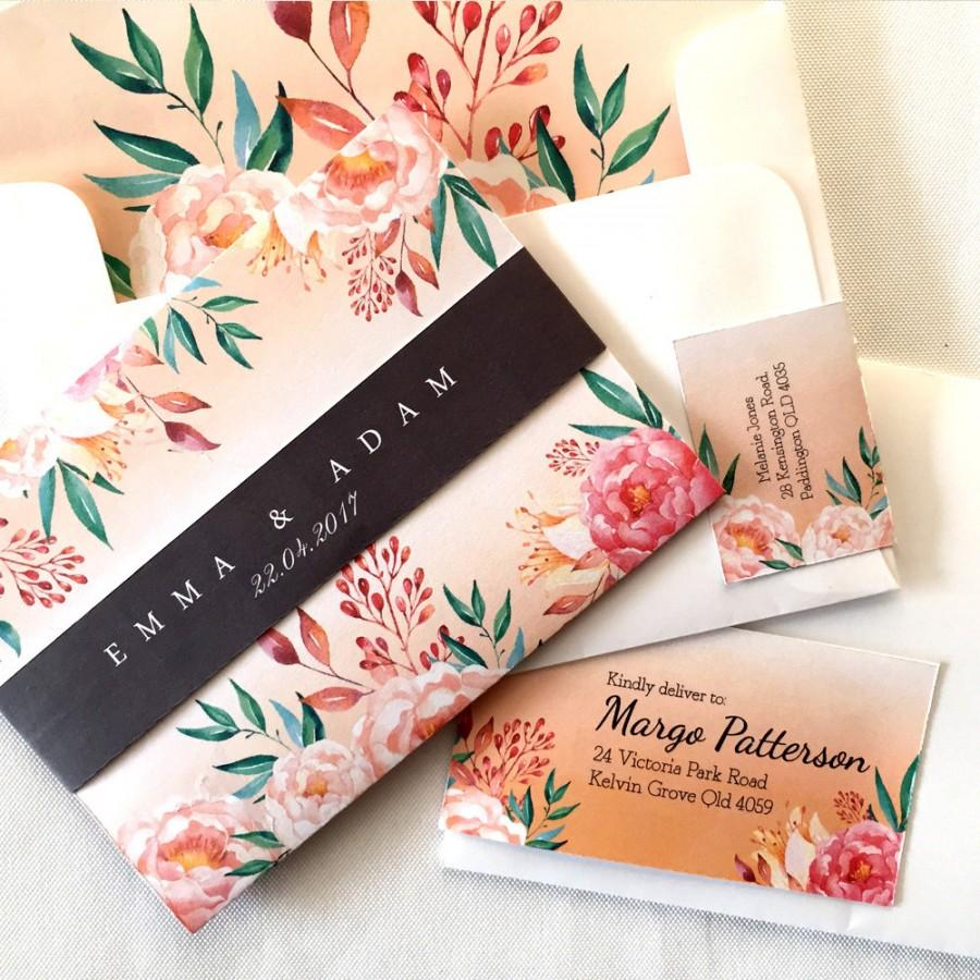 Mila Floral Wedding Invitation Suite. Watercolour Flowers, Country ...
