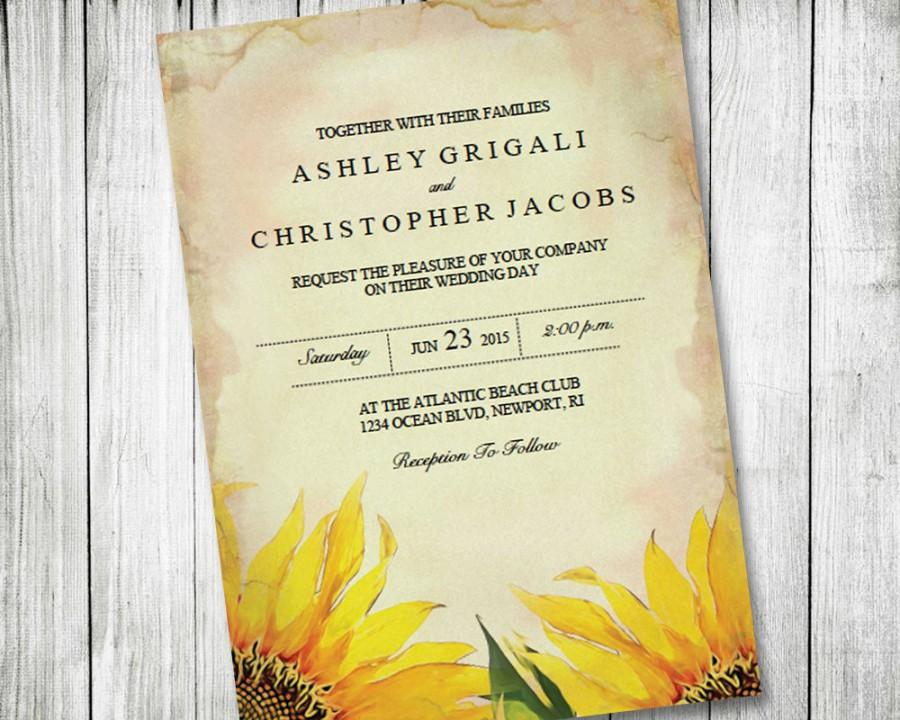 Printable Sunflower Wedding Invitation ~ Vintage, Rustic, Country ...