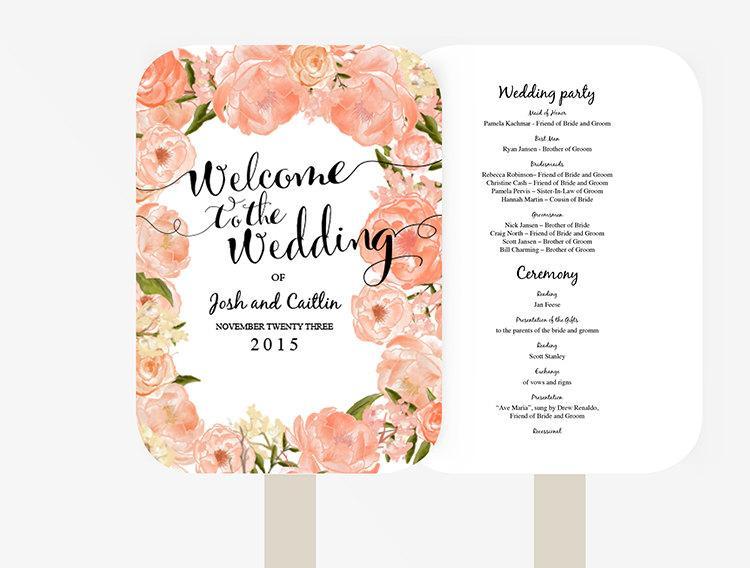 Свадьба - Wedding Fan Program Template